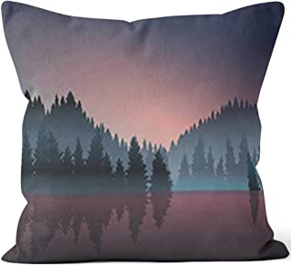 "Lakeview and Pine Wood at Dusk Throw Pillow Cushion Cover,HD Printing Decorative Square Accent Pillow Case,28"" W by 28"" L"