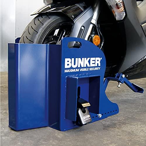 Bunker BP68S Antirrobo Máxima Seguridad para Parking con Calzo de Rueda Ajustable, Anclaje Scooter Blindado, Candado Acero, Azul