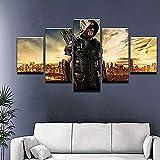 YFTNIPL Impresión 5 Piezas Lienzo Serie De Televisión Green Arrow Man Casa Sala Oficina Regalo Decoración Mural HD Imágenes Póster 5 Piezas Artística Cuadros 5 Piezas De Pared Fotos Cuadros En Lienzo