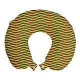 ABAKUHAUS Rasta Cojín de Viaje para Soporte de Cuello, Etiopía Rayas onduladas, de Espuma con Memoria Respirable y Cómoda, 30x30 cm, Marigold Verde y Rojo