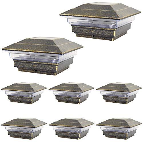 8 Pack Bronze Outdoor Garden 4 x 4 Solar LED Post Deck Cap Square Fence Light Landscape Lamp Lawn PVC Vinyl Wood