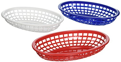 Tablecraft BBQ1074RWB 6 Piece Classic Oval Plastic Baskets