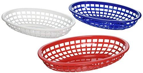 Tablecraft BBQ1074RWB - Juego de 6 cestas de plástico ovaladas clásicas, color rojo/blanco/azul