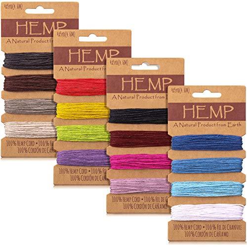16 Couleurs Cordon de Fil Corde de Lin Multicolore, Corde de Ficelle Naturelle pour Bracelets Artisanat Fabrication de Porte-Clés, 1 mm, 80 Yards au Total (Multicolore) (Multicolore)