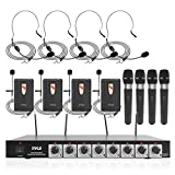 8 Channel Wireless Microphone System - Professional VHF Audio Mic Set with 1/4', XLR Jack - 4 Headset, 4 Clip Lavalier, 4 Handheld Mic, 4 Transmitter, Receiver - For Karaoke PA, DJ - Pyle PDWM8700
