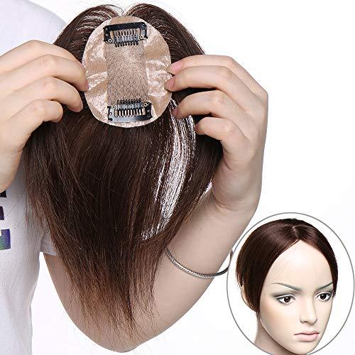 Haarteil Topper Echthaar Clip in Extensions Pony Toupee Haarverlängerung 100% Remy Lace Front Closure Toupet Mittelbraun#4-1 6