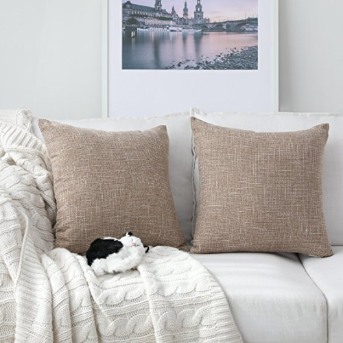Kevin Textile Textural Faux Linen Throw Cushion Pillow Covers Shams for Couch, Invisible Zipper, 45x45CM(Set of 2, Natural Linen)