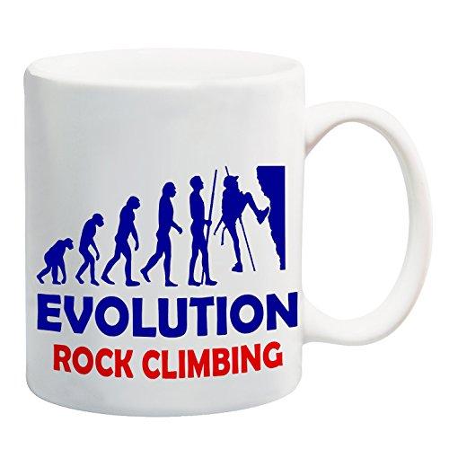 Diseño de muñeco con taza de la evolución de escalada en roca