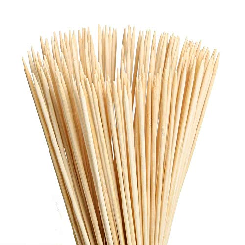 "MAXZONE 12"" Natural Bamboo Skewers (0.16Inch/ 4mm Diameter) for BBQ, Marshmallows, Appetiser, Fruit Kabob,Cocktail,Shish Kabob, Chocolate Fountain,Grilling,Barbecue,Kitchen,Crafting and Party 100pcs"