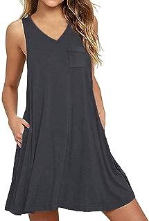 Yanekop Womens Summer Sleeveless Swing T-Shirt Dress Loose Tank Beach Dress with Pockets