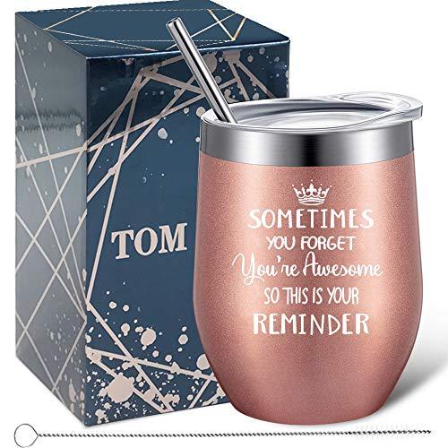 Tom Boy Dankeschön Geschenke für Frauen, Mitarbeitergeschenke - Glückwunschkarte, Geburtstag, Weihnachtsgeschenke für Coworker, Freund, Boss Lady, Schwester - Isoliert Edelstahl Weinglas 12oz