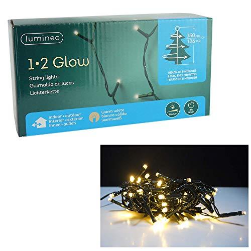 Kaemingk LED Lichterkette 1-2 Glow Girlande Lichtergirlande Weihnachtsdeko Innen Außen (Warmweiß, 150cm Baum - 126 LED)