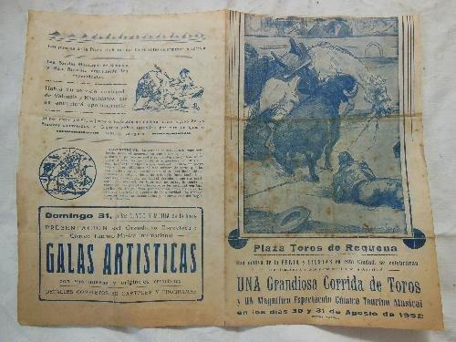 Plaza - Cartel : PLAZA TOROS DE REQUENA. 1952 Luis Miguel Dominguin,...
