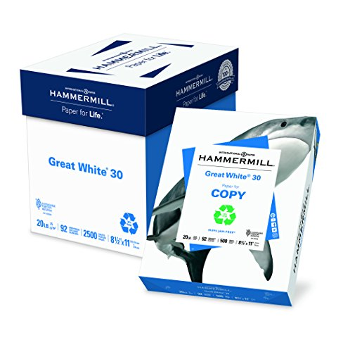 Hammermill Paper, Great White 30% Recycled Printer Paper, 8.5 x 11 Paper, Letter Size, 20lb, 92 Bright, 5 Reams / 2,500 Sheets (086710C) Acid Free Paper