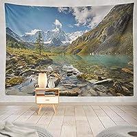 Jbralid 雪の山と春の湖緑の風景サニー おしゃれで快適です 壁掛け 装飾布 インテリア ウォールアート 多機能 室内 窓や壁の飾り パーティー用 お店 オリジナルプレゼント