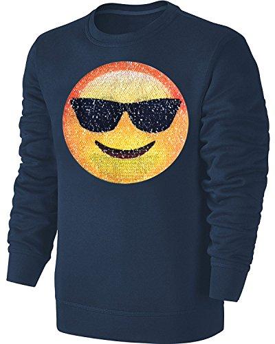 Blackshirt Company Kinder Wende Pailletten Sweatshirt Emoji Herzaugen Streichel Pullover Blau Größe 140