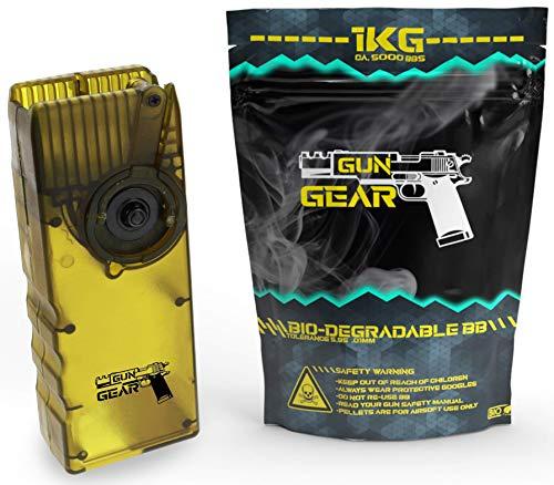 GunGear Airsoft Set BB 0,20g Bio Kugeln 6mm 5000 Softair BBS 1kg inklusive Speedloader für MidCap Magazine M4 M16