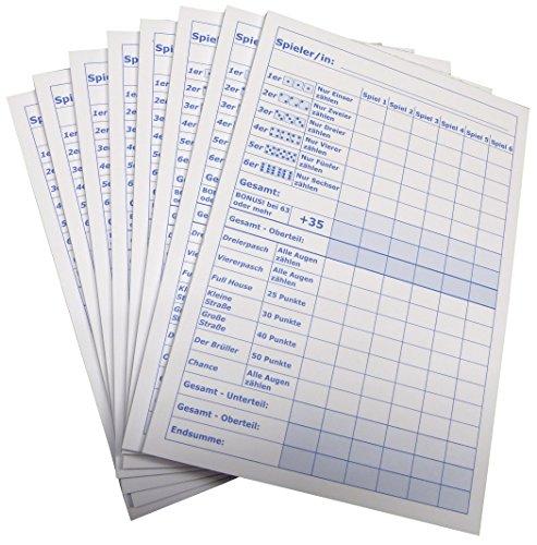3x Block für Würfelspiel - 50 Blatt, Druck in Blau DIN A5, 50 Blatt, Qualitäts-Offset-Papier 80g/m² (22671)