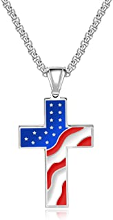 Mens Stainless Steel American USA Flag Day Gift Patriotic Star and Stripes Cross Religious Pendant Necklace for Men Women