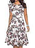 ihot - Abito da donna vintage con volant e motivo floreale, stile casual, con tasche Fiori bianchi e rosa. S
