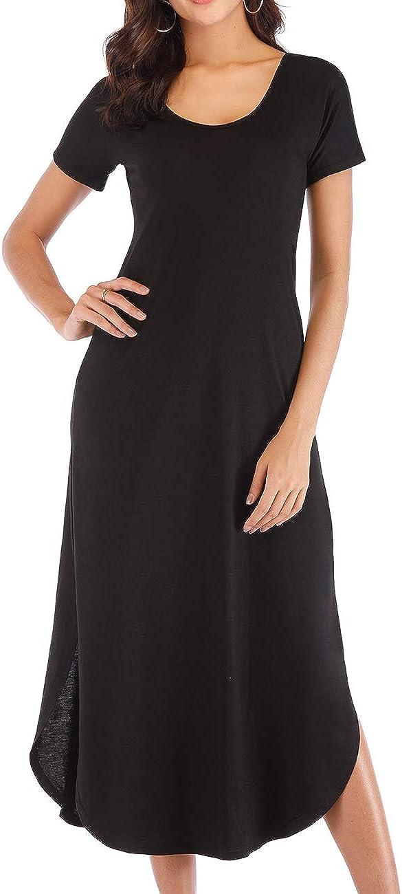 Haola Womens Split Side Long Maxi Scoop Neck Casual Short Sleeve Dresses