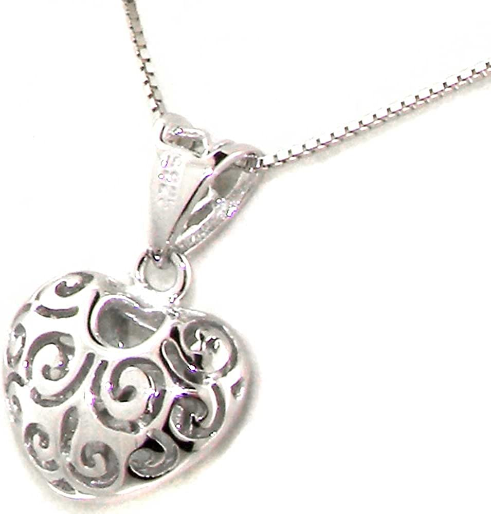 """9CT ROSE GOLD PLATED DOUBLE PUFFED HEARTS /& 925 HALLMARKED SILVER 18/"""" NECKLACE"""