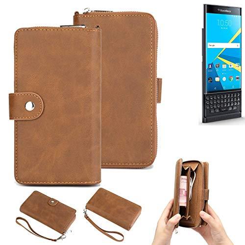 K-S-Trade® Handy-Schutz-Hülle Für -BlackBerry Priv- Portemonnee Tasche Wallet-Case Bookstyle-Etui Braun (1x)