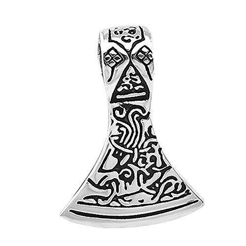 Anhänger Axt Beil Schwarz Wikinger Tribal Keltisch Celtic Edelstahl Halskette Lederkette Gothic Kugelkette Damen Herren Silber-nur-anhänger