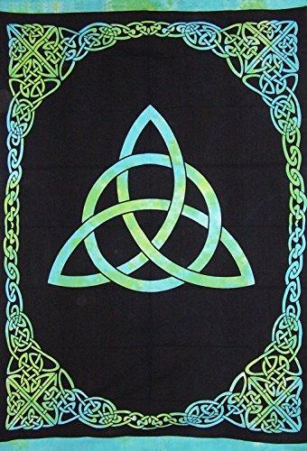 India Arts Celtic Trinity Tie Dye Tapestry Heavy Cotton Spread 98' x 70' Twin Blue