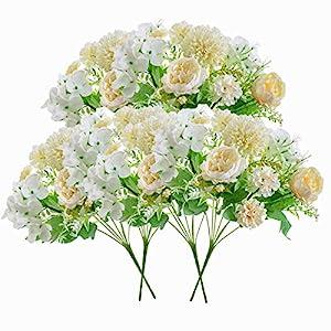 Artificial Flowers, 6 Packs White Fake Peony Silk Hydrangea Bouquet Decor Plastic Carnations Daisy Realistic Flower Home Office Party Decor Arrangements Wedding Decoration Table Centerpieces
