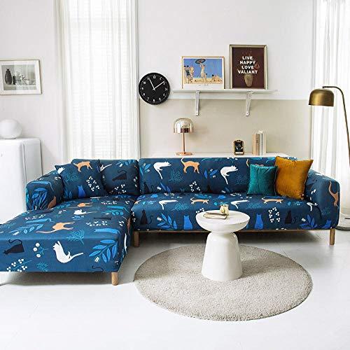 Funda Sofas 2 y 3 Plazas Animal Azul Fundas para Sofa con Diseño Elegante Universal,Cubre Sofa Ajustables,Fundas Sofa Elasticas,Funda de Sofa Chaise Longue,Protector Cubierta para Sofá