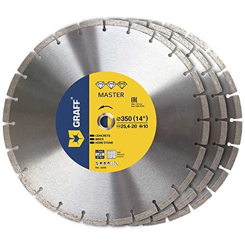 (3 Pack) GRAFF Diamond Blade 14 Inch - Diamond Cutting Wheel for Cutting Reinforced Lightweight Concrete, Stone, Granite, Brick, Masonry - Diamond Saw Blades Segment Height 0.394 (10 mm)