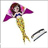 YPKHHH Dibujos Animados creativos fáciles de Volar Brisa Cometa Sirena niños al Aire Libre Carrete de Cinta 100 m línea 140 cm + 175 cm