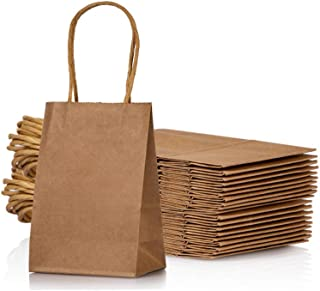 Small Kraft Paper Bag with Handle Party Favours Bag 6x4.5x2.5 inch for Wedding Birthday Baby Shower Recycled Bag, Pack of 24