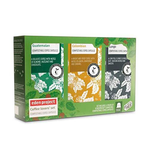 Pack van 60 Eden Project biologisch afbreekbare koffie capsules geschenkdoos