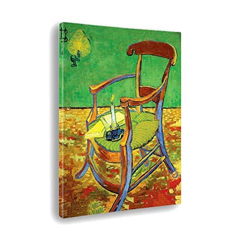 Giallobus - Cuadro - Vincent Van Gogh - Silla de Gauguin - Estampado en Lienzo - Listo para Colgar - Varios tamaños 50x70 cm