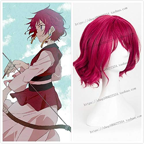 Anime Akatsuki No Yona of The Dawn Curly Purple Pelo sinttico corto Resistente al calor Accesorios de cosplay Fiesta de Halloween + Gorra de peluca gratis