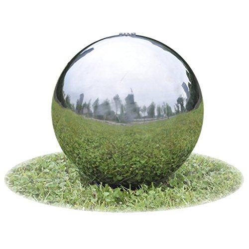 Festnight Fontana da giardino a sfera con LED in acciaio inossidabile 30 cm