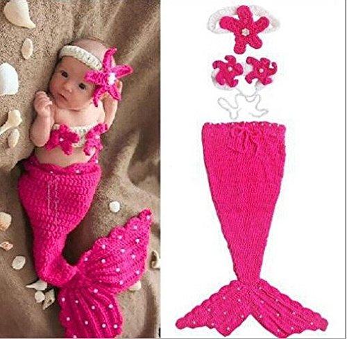 DAYAN Handmade Cappello bambino nato il bambino infantile Beanie-Maglia Props fumetto Sirena Grazioso Costume, Set fotografia 0-5 mesi
