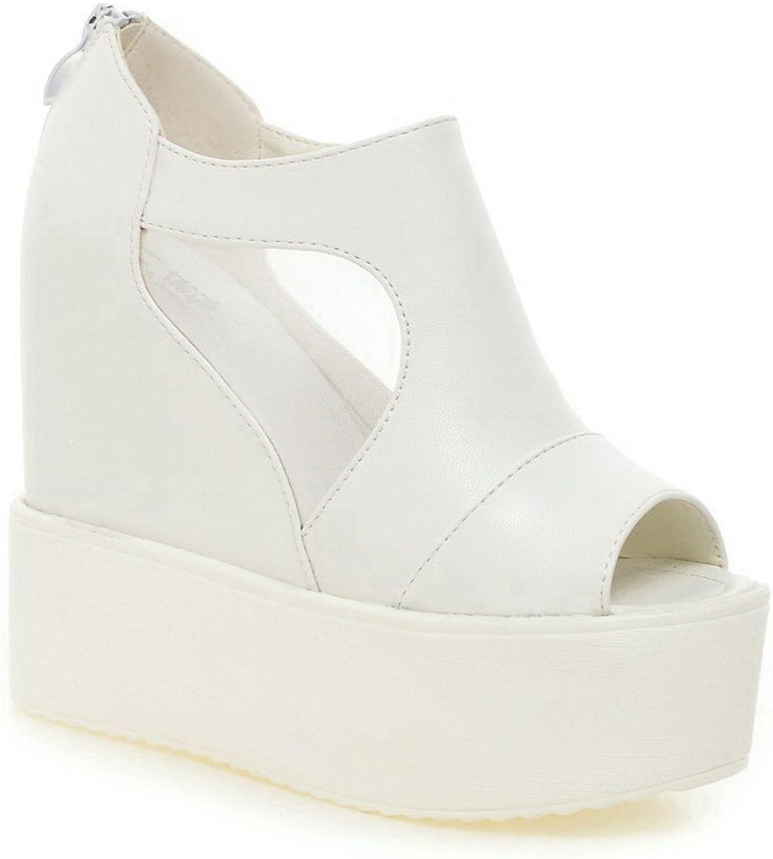WeenFashion Women's PU Zipper Zipper Peep Toe High-Heels Sandals