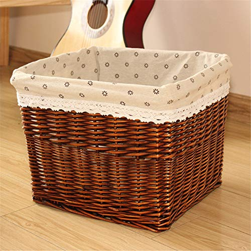 BESTSOON Laundry Basket Wicker Basket Storage Chest Trunk Hamper With Cloth Linning For Home for Bedroom (Color : F, Size : L)