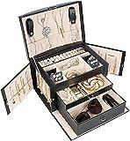 Procase Organizador de Joyas con 3 Capas, Caja Joyero para Anillos, Pendientes, Collares y Pulseras, Joyero...
