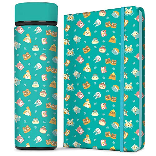 Controller Gear Animal Crossing Teal Icons Stainless Steel Water Bottle & Hard Cover Journal Notebook Set [2 Pack] Animal Crossing Merchandise - Not Machine Specific