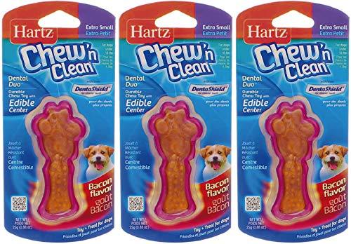 Hartz Tiny Dog Dental Duo Dog Toy Edible Chew Combo [Set of 3]