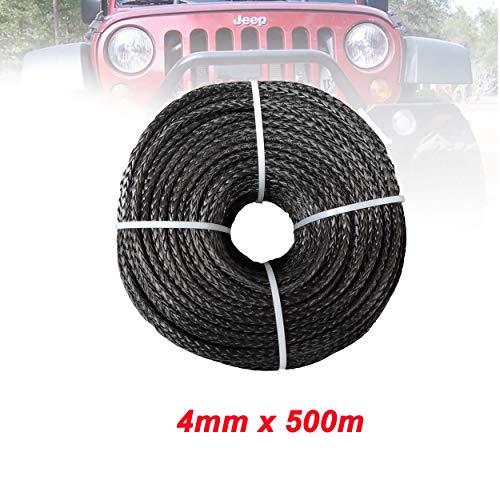 lifebea Eslinga 4mm x 500m sintéticos Torno de Cable/Cuerda Cuerda de Remolque for ATV/UTV/Todoterreno Azul, Negro Colores Portabicicletas (Color Name : Black)