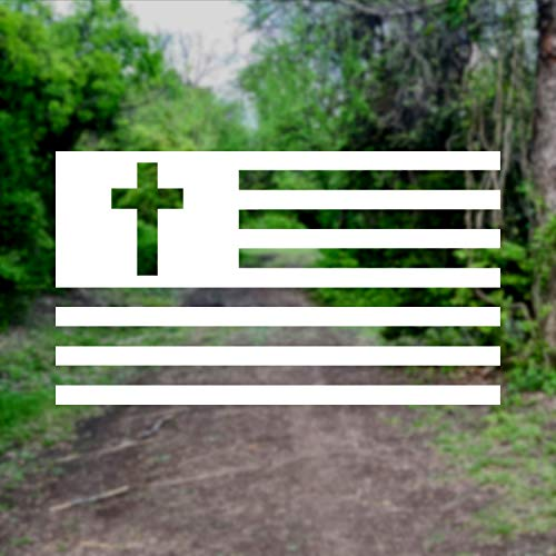 Christian American Flag [Pick Color/Size] Vinyl Decal Sticker for Laptop/Car/Truck/Window/Bumper (3in x 1.7in, White)