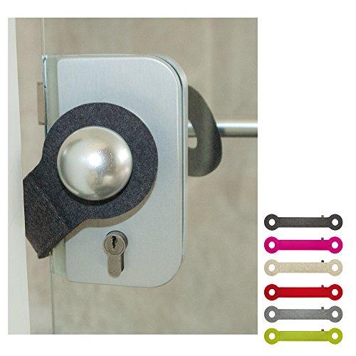 ebos Türstopper aus 100% Wollfilz | handgefertigter Klemmschutz, Stopper, Türpuffer | Universell einsetzbar, passend für alle Türklinken | anthrazit