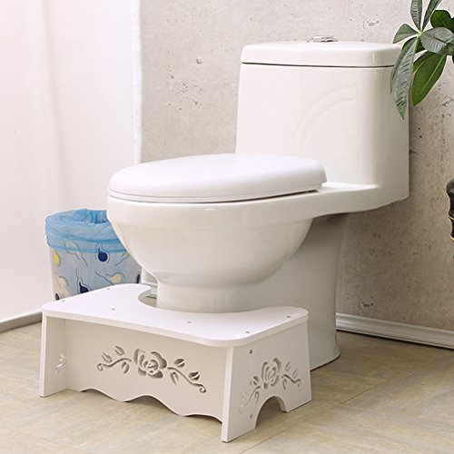 Home-organizer Tech Toilet Stool,Squat Toilet Stool, Bathroom Squat Toilet Stool,White Wood Bathroom Step,Comfortable Squat Aid for Kids,Children,Toddlers,Adults- 7 inch (Rose)