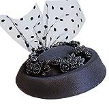 para Mujer del Sombrero de Copa Diadema de Sombreros de Mujer para Mujer Boda Cóctel Tea Party Costume Hair Clip para Cóctel (Color : Black, Size : Free Size)