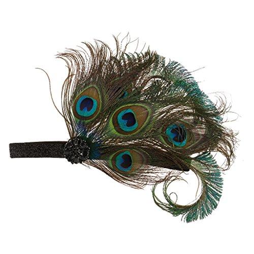 1920s Stirnband Pfau Feder Damen Retro Fascinator 20er Elegant Haarschmuck Haarclip Gatsby Stil Accessoires